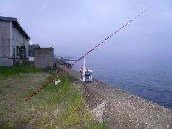 大石 雨中の投げ釣りでキス〜22cm2匹