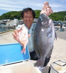 沖一文字でのカゴ釣り、グレ43cm