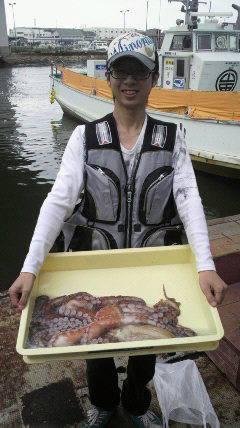 沖一文字北でシラサエビに3kgのタコが!