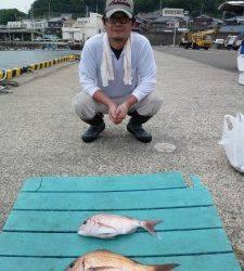 神谷沖一文字でのカゴ釣り、イサギにサバに大物マダイ
