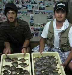 岸和田一文字 ムキエビのエサでカワハギ大漁釣果