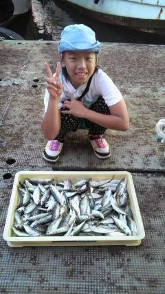 釣りガール、サビキで大漁 岸和田沖一文字での釣果
