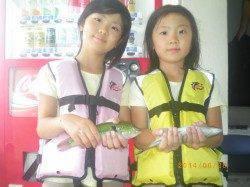 姫路市立遊漁センター お子様が初めてのベラをキャッチ