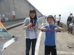 和歌山北港魚つり公園でお子様がカワハギGET!