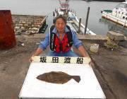 のませ釣りでヒラメ52㎝ in 黒島の磯