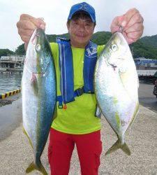 沖一文字外向きのカゴ釣りでハマチ・シマアジ・グレ・ソーダガツオ