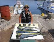 黒島の磯ルアーでメーター級シイラの釣果