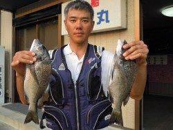 湯浅の磯、紀州釣りでチヌ2枚