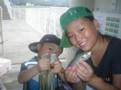 タコとアジをキャッチ 姫路市立遊漁センター
