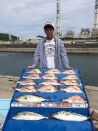 マリーナシティ海洋釣り堀 マダイ・カンパチ・ハマチ沢山釣れました