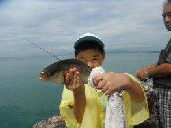 和歌山北港魚つり公園 お子様がシオ33cmをゲット