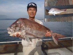須磨海釣り公園 イワシのエサにマダイ79cm