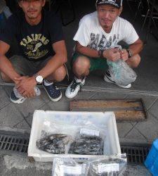 紀北・初島の磯ナラムシクイ エギングでアオリイカ二人で25ハイ