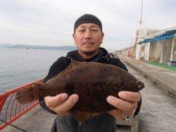 平磯海づり公園でアオムシを使った投げ釣り カレイ29cm
