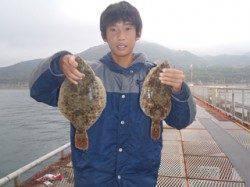 須磨海釣り公園 投げ釣りでカレイの釣果出てます☆