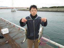 尼崎市立魚つり公園 午前中はエビ撒き釣りにセイゴのアタリひっきりなし