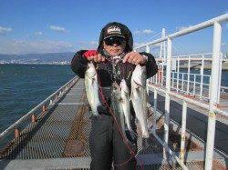 尼崎市立魚つり公園、良型チヌが反応良し!