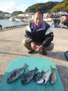 由良神谷 沖一文字内向きのカゴ釣りで40cmオーバーの良型グレ!