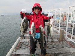 尼崎市立魚つり公園 エビ撒きハネはズボ釣り、ウキ釣りどちらもアタリ多数
