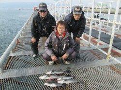 尼崎市立魚つり公園 エビ撒きで62cmのスズキサイズも