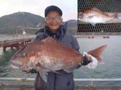 須磨海づり公園 ウキ流し釣りでマダイ75cm!