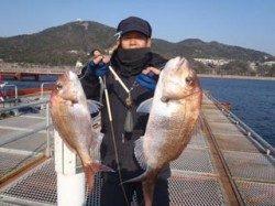 須磨海づり公園 ウキ流し釣りでマダイ良型2枚