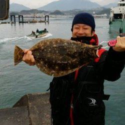 田辺文里漁港、呑ませ釣りでヒラメ