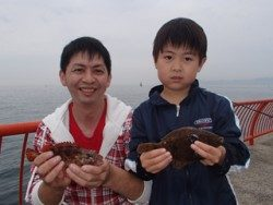 神戸市立平磯海づり公園 ファミリーでの投げ釣り、カレイとガシラをキャッチ
