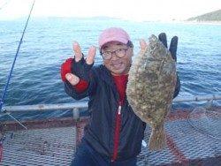 須磨海釣り公園 投げ釣りでカレイ34cm