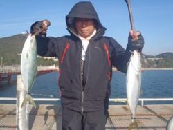 須磨海釣り公園 ウキ流しでハマチ2尾
