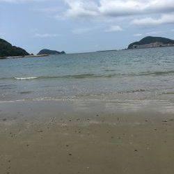 砂浜でキス釣り