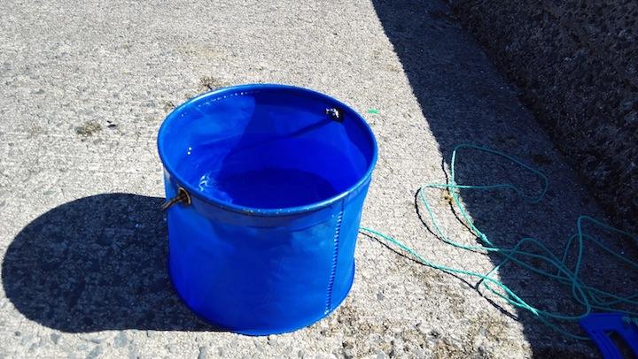 水汲みバケツに水を汲んでく