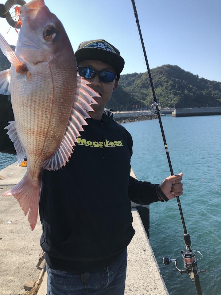 松山沖、離島フィッシングショアラバでマダイ