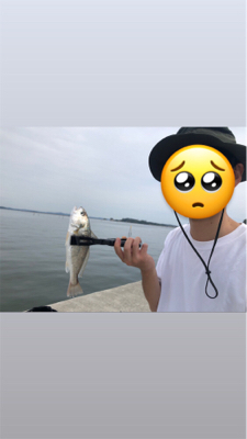 妻と餌釣り